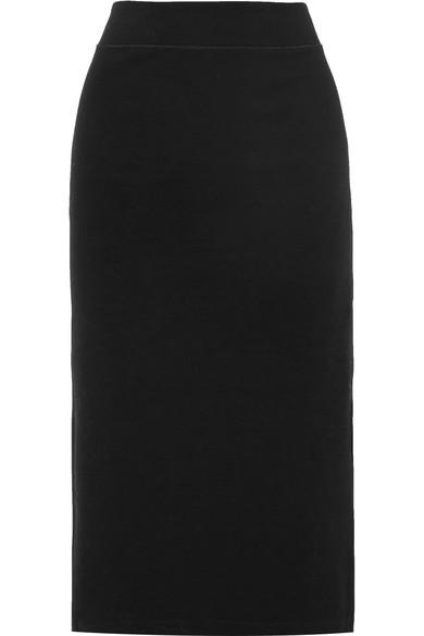 Stretch Cotton-Blend Jersey Midi Skirt in Black