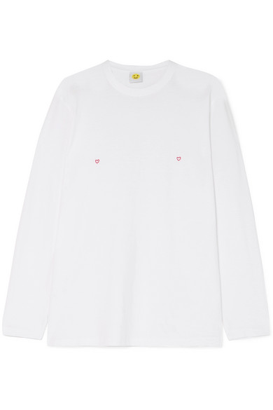 YEAH RIGHT NYC Heart Embroidered Cotton-Jersey Top in White