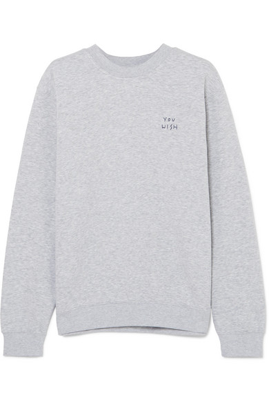 YEAH RIGHT NYC You Wish Embroidered Cotton-Blend Jersey Sweatshirt in Gray