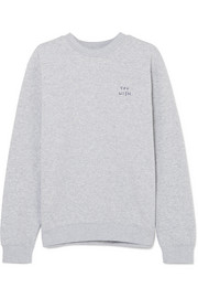 You Wish embroidered cotton-blend jersey sweatshirt