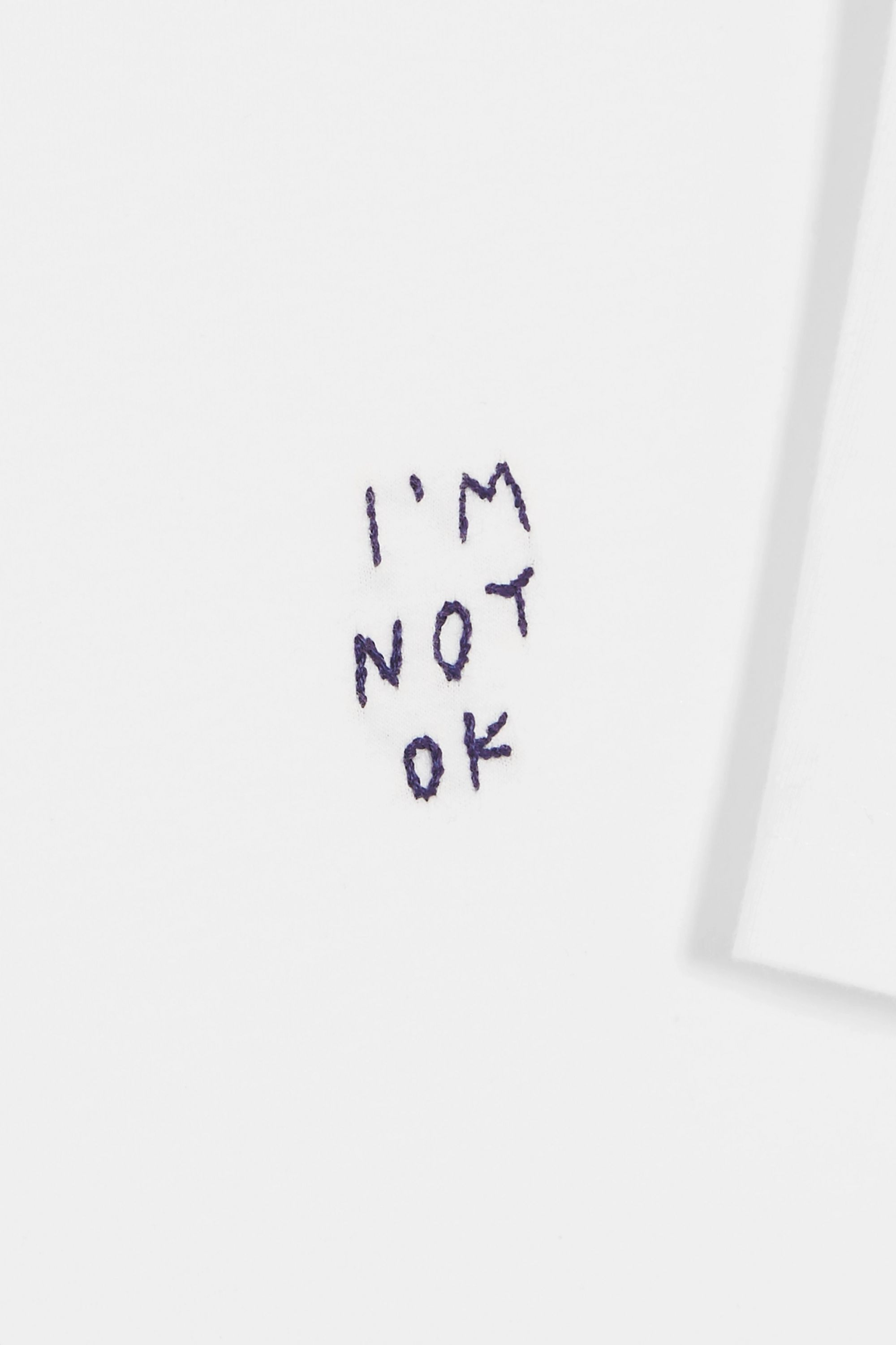 YEAH RIGHT NYC I'm Not OK embroidered cotton-jersey T-shirt