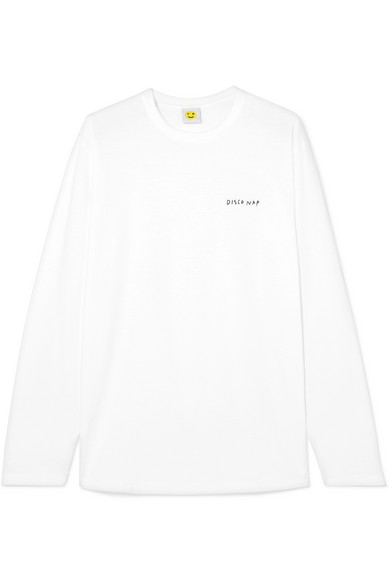 YEAH RIGHT NYC Disco Nap Embroidered Cotton-Jersey Top in White