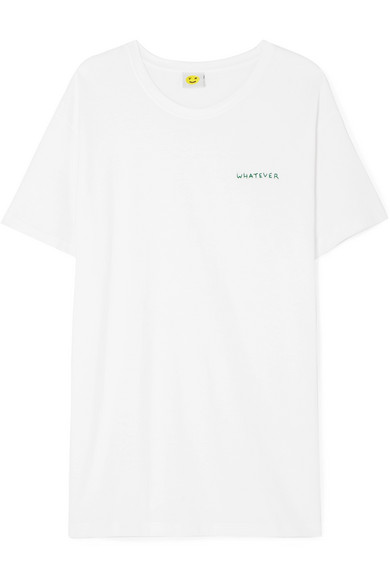 YEAH RIGHT NYC Whatever Embroidered Cotton-Jersey T-Shirt in White
