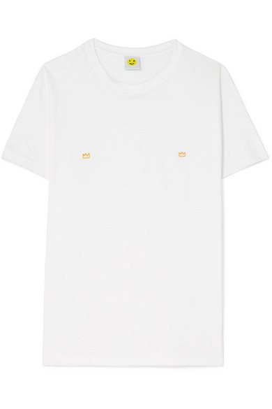 YEAH RIGHT NYC Fire Embroidered Cotton-Jersey T-Shirt in White