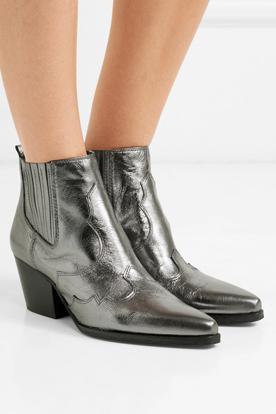 Sam Edelman – Winona Metallic Textured-leather Ankle Boots