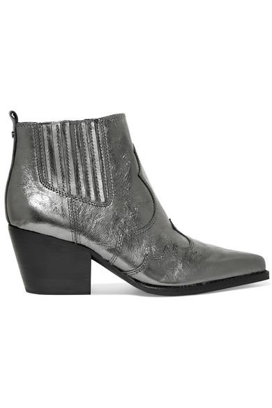 0f434b89d Sam Edelman. Winona metallic textured-leather ankle boots
