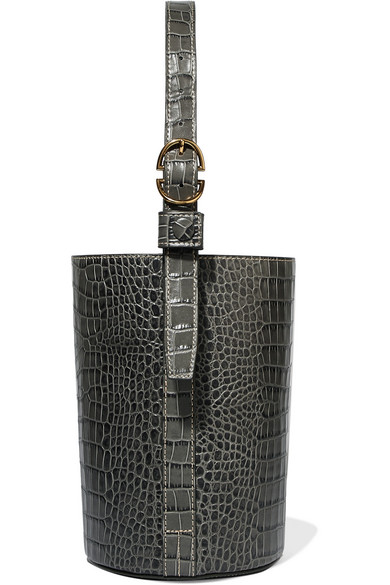 Trademark - Small Croc-effect Leather Bucket Bag - Gray