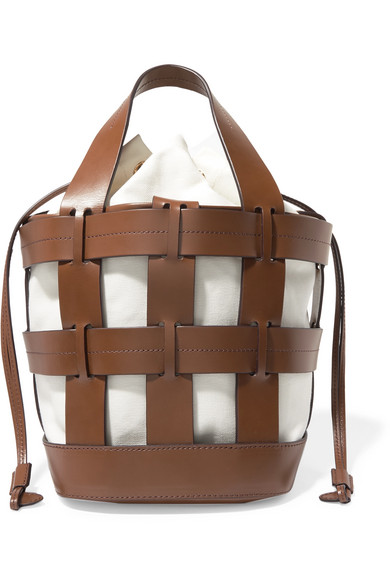 Trademark - Cooper Caged Leather And Canvas Tote - Brown