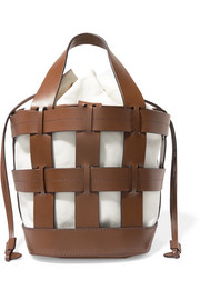 Trademark Cooper caged leather and canvas tote