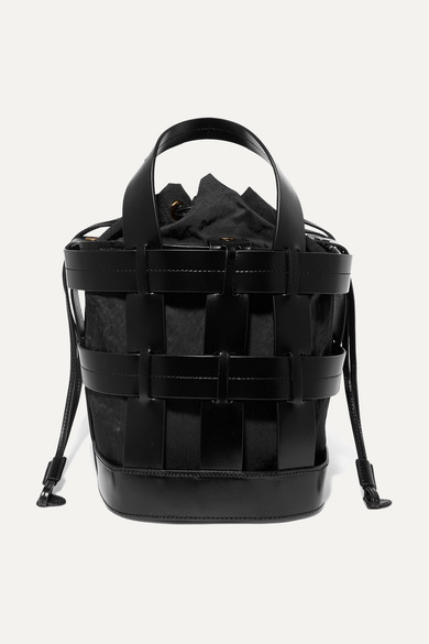 Trademark - Cooper Caged Leather And Canvas Tote - Black