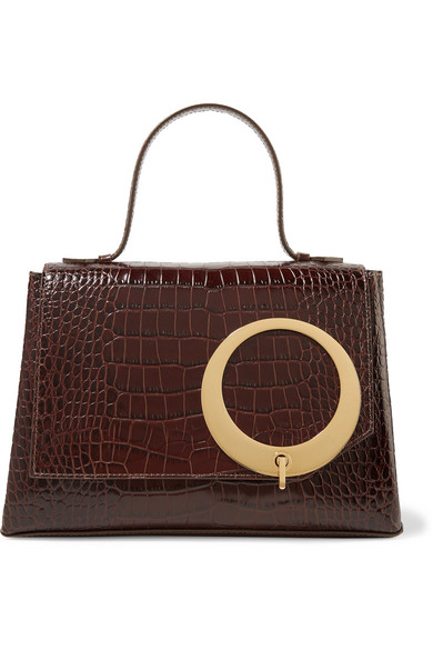 Trademark - Harriet Croc-effect Leather Tote - Chocolate