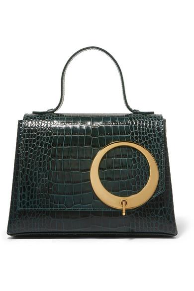 Trademark - Harriet Croc-effect Leather Tote - Dark green