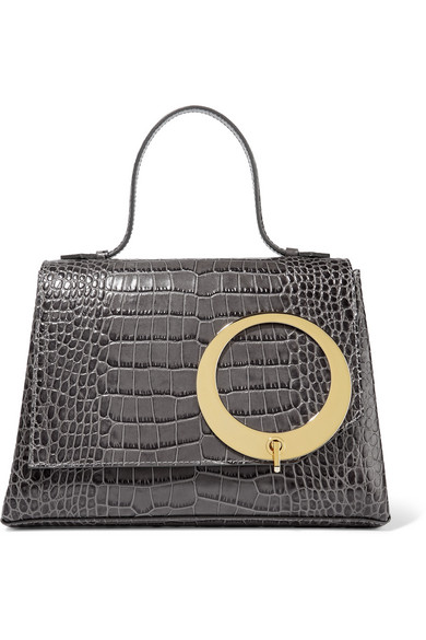 Trademark - Harriet Croc-effect Leather Tote - Gray
