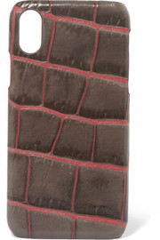 Croc-effect leather iPhone X case