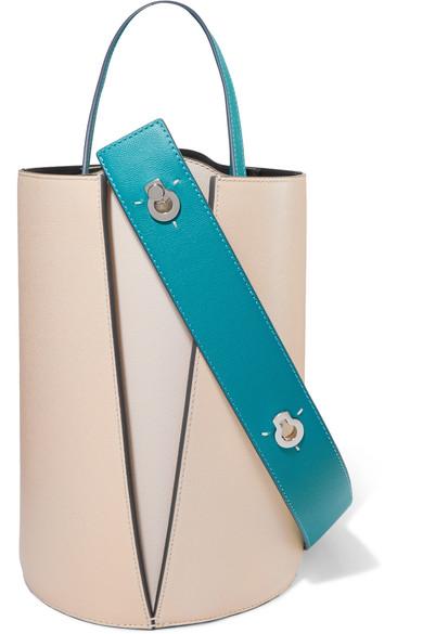 Lorna Mini Textured-Leather Bucket Bag, Vanilla/ Turquoise
