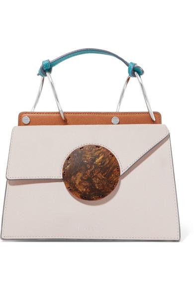 Phoebe Bis Mini Color-Block Textured-Leather Shoulder Bag, Dust