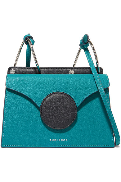 DANSE LENTE Phoebe Mini Color-Block Textured-Leather Shoulder Bag in Green