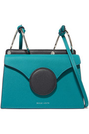 Phoebe mini color-block textured-leather shoulder bag