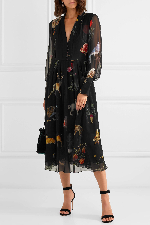 Oscar de la Renta Belted printed silk-chiffon midi dress
