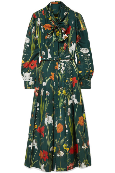 Oscar de la Renta - Pussy-bow Printed Silk-twill Midi Dress - Green