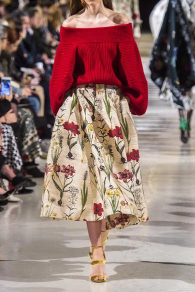 Floral Print Silk Blend Midi Skirt by Oscar De La Renta