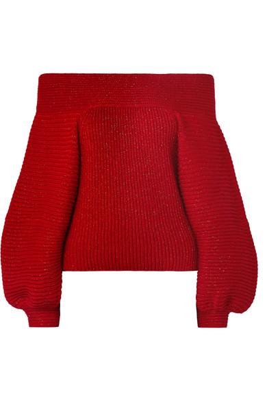 Oscar de la Renta - Off-the-shoulder Metallic Ribbed Wool-blend Sweater - Red