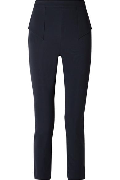 CUSHNIE ET OCHS CROPPED PANELED STRETCH-CREPE SLIM-LEG PANTS