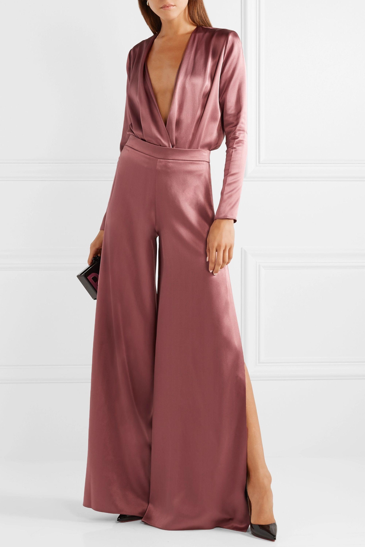 Cushnie Wrap-effect silk-charmeuse bodysuit