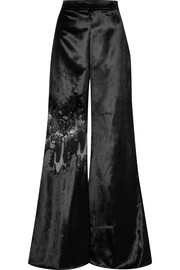 Lace-paneled velvet wide-leg pants