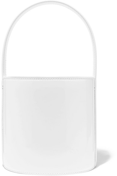 Bissett Patent-Leather Bucket Bag in White