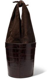 Britt croc-effect leather and suede bucket bag