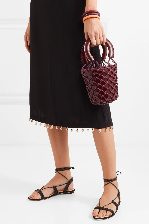 STAUD Moreau mini leather and macramé bucket bag