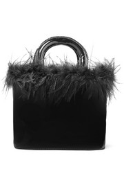 Nic feather-trimmed patent-leather tote