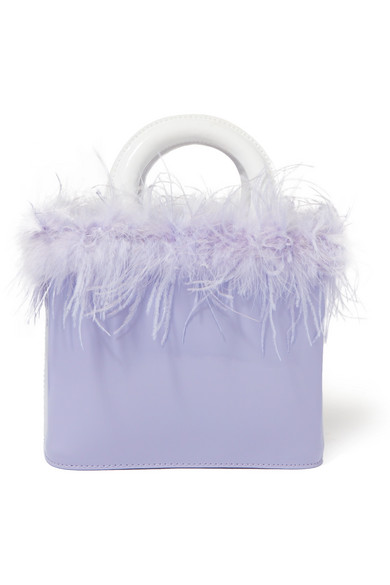 Purple Nic Feather Embellished Patent Leather Tote Bag