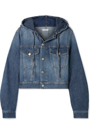 GANNI Cropped hooded denim jacket