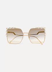 Fendi Can Eye square-frame studded gold-tone sunglasses