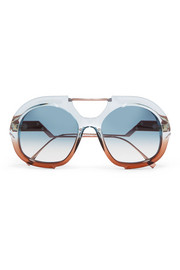 Fendi Round-frame two-tone acetate and rose gold-tone sunglasses