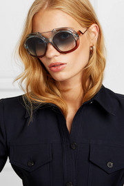 Round-frame two-tone acetate and rose gold-tone sunglasses