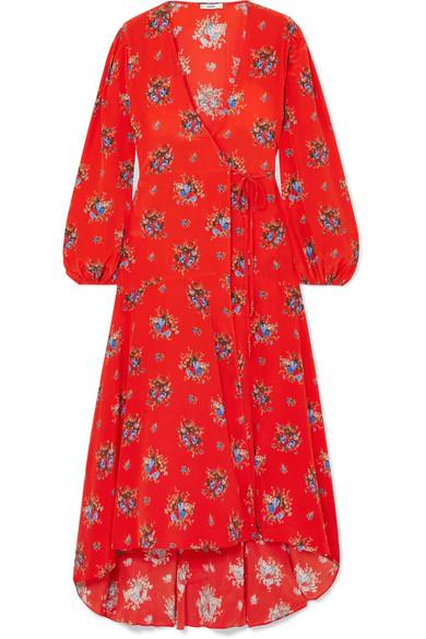 e14c6b78b2 GANNI | Floral-print washed-silk wrap dress | NET-A-PORTER.COM