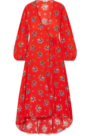 Kochhar floral-print washed-silk wrap dress