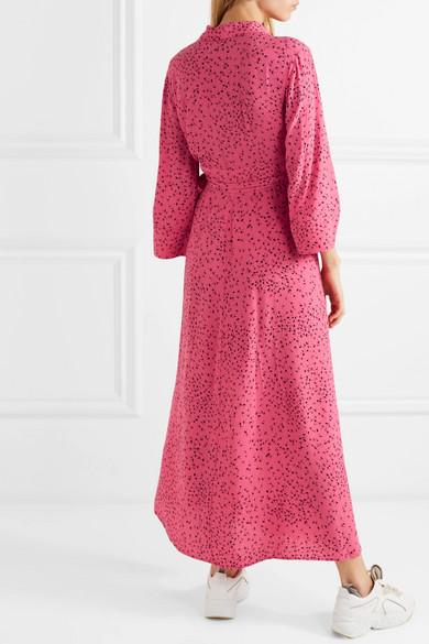 88ab7678a2 GANNI. Barra printed crepe de chine wrap maxi dress.  164.50. Play