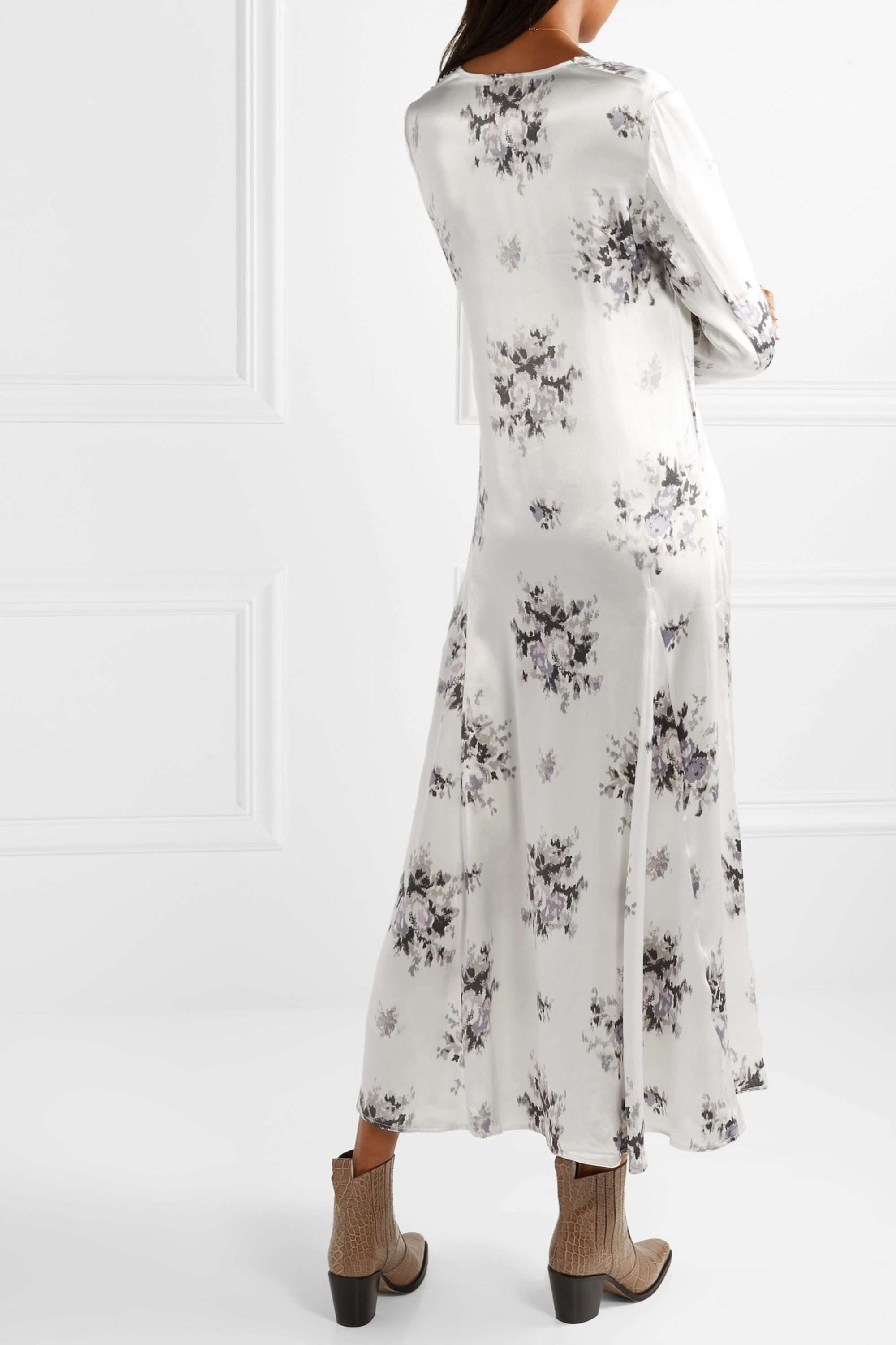 GANNI Floral-print satin midi dress