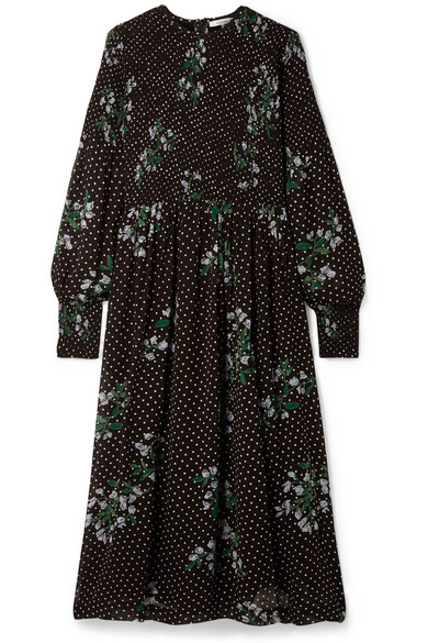 95a9ef35 GANNI | Rometty smocked printed georgette midi dress | NET-A-PORTER.COM