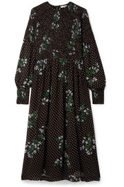 GANNI Rometty smocked printed georgette midi dress