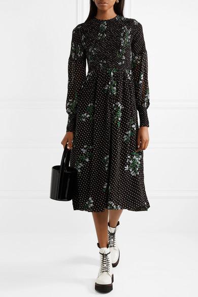 212afbbf GANNI | Rometty smocked printed georgette midi dress | NET-A-PORTER.COM