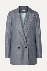 GANNI Merkel oversized checked silk and wool-blend blazer