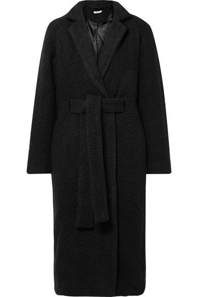 GANNI - Fenn Oversized Belted Wool-blend Bouclé Coat - Black