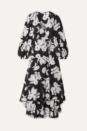 GANNI Floral-print silk crepe de chine wrap dress