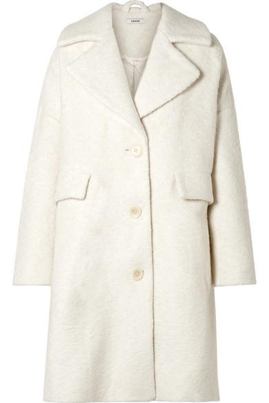 GANNI - Fenn Oversized Wool-blend Bouclé Coat - Cream