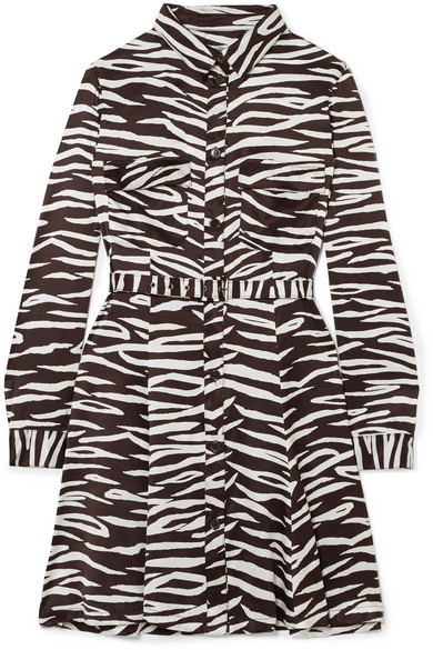 GANNI - Zebra-print Stretch-silk Satin Mini Dress - Zebra print